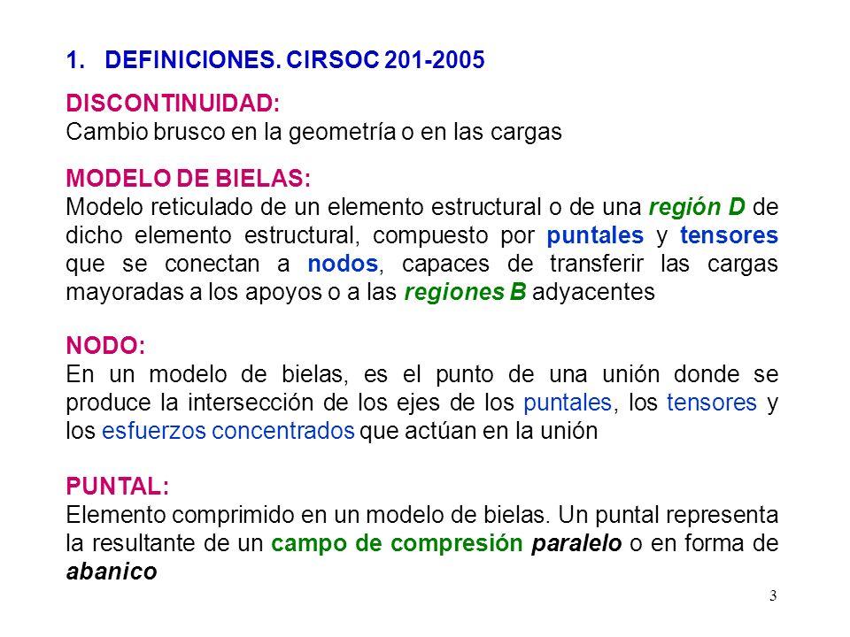 1. DEFINICIONES. CIRSOC 201-2005 DISCONTINUIDAD: Cambio brusco en la geometría o en las cargas. MODELO DE BIELAS: