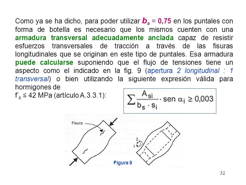 Como ya se ha dicho, para poder utilizar bs = 0,75 en los puntales con forma de botella es necesario que los mismos cuenten con una armadura transversal adecuadamente anclada capaz de resistir esfuerzos transversales de tracción a través de las fisuras longitudinales que se originan en este tipo de puntales. Esa armadura puede calcularse suponiendo que el flujo de tensiones tiene un aspecto como el indicado en la fig. 9 (apertura 2 longitudinal : 1 transversal) o bien utilizando la siguiente expresión válida para hormigones de