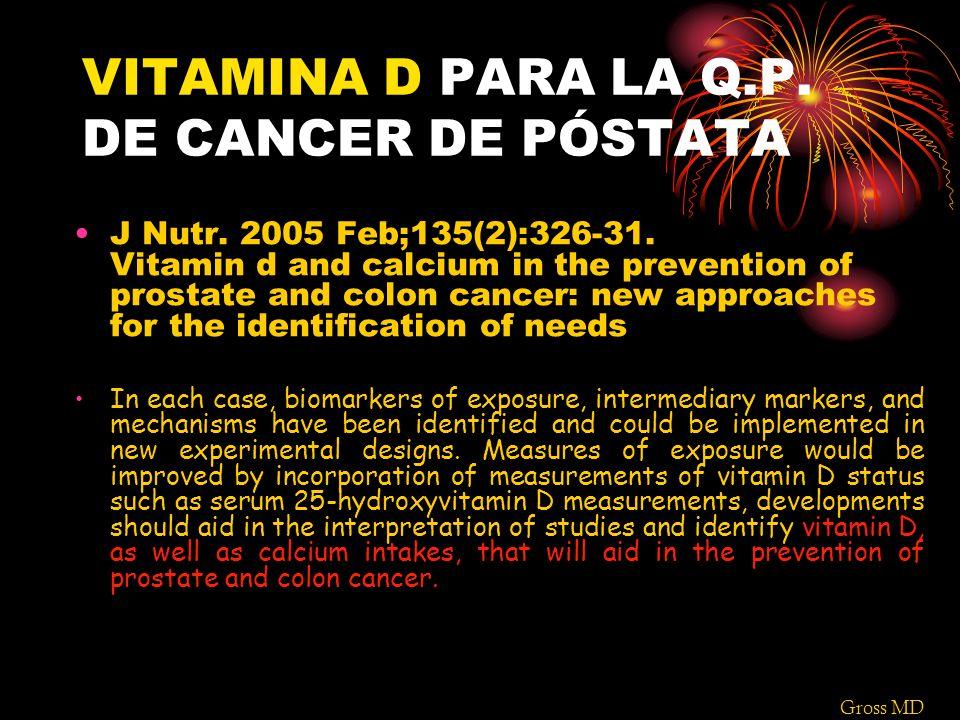 VITAMINA D PARA LA Q.P. DE CANCER DE PÓSTATA