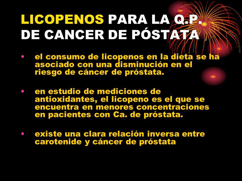 LICOPENOS PARA LA Q.P. DE CANCER DE PÓSTATA
