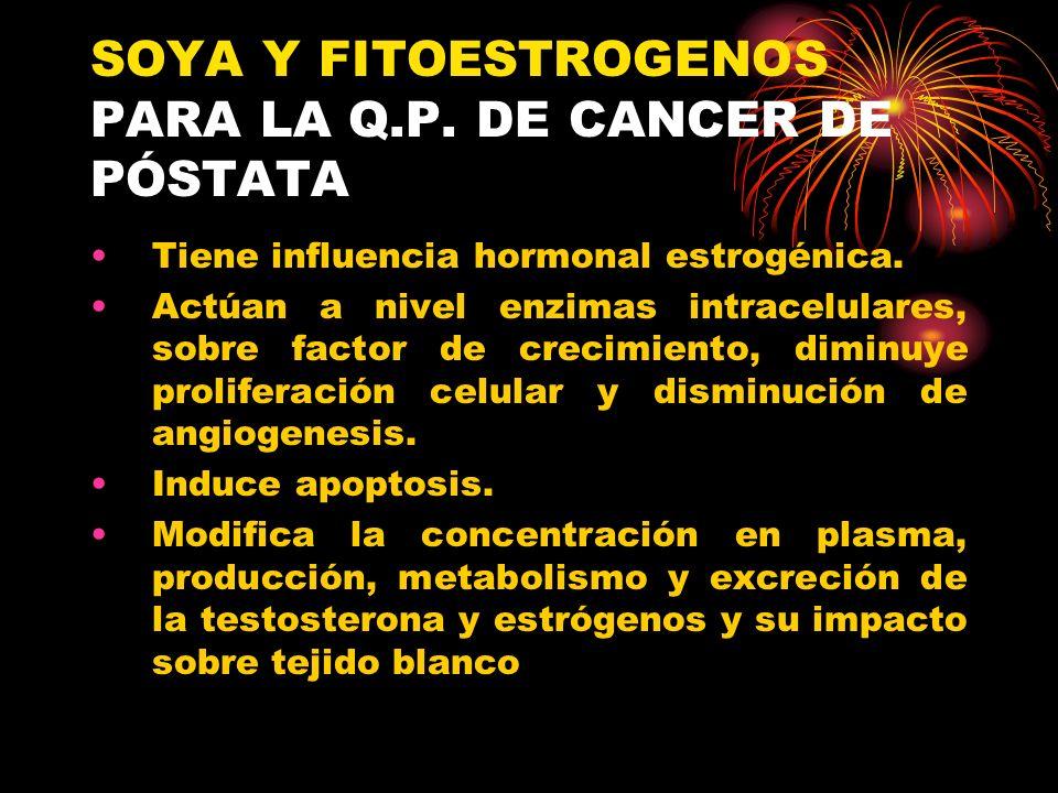 SOYA Y FITOESTROGENOS PARA LA Q.P. DE CANCER DE PÓSTATA