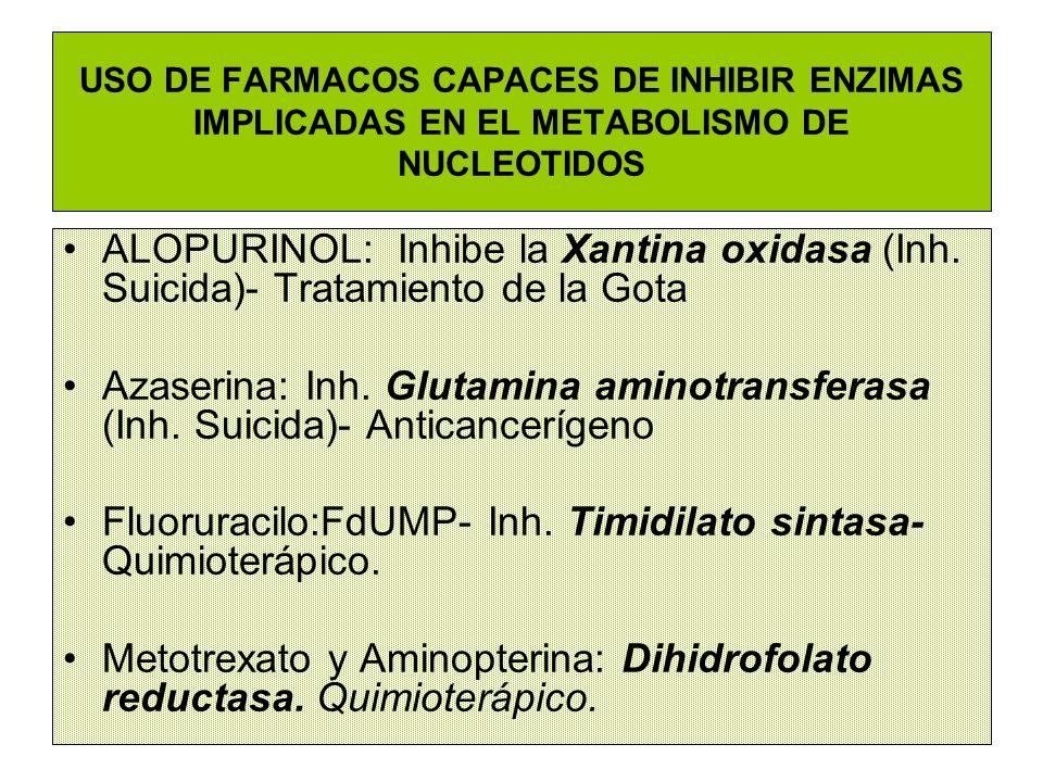 Fluoruracilo:FdUMP- Inh. Timidilato sintasa- Quimioterápico.