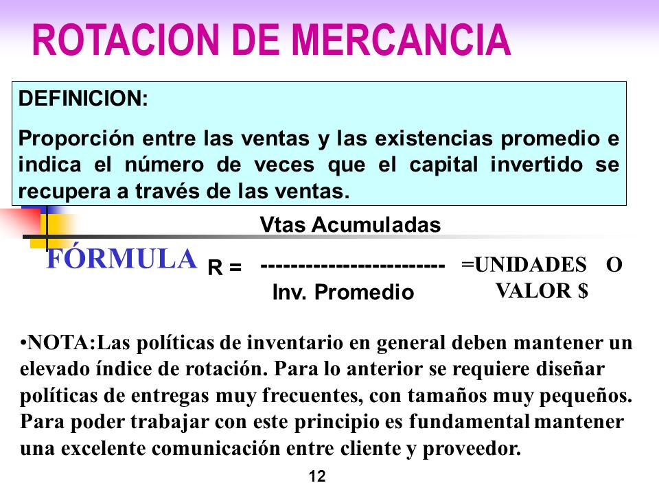 ROTACION DE MERCANCIA FÓRMULA DEFINICION: