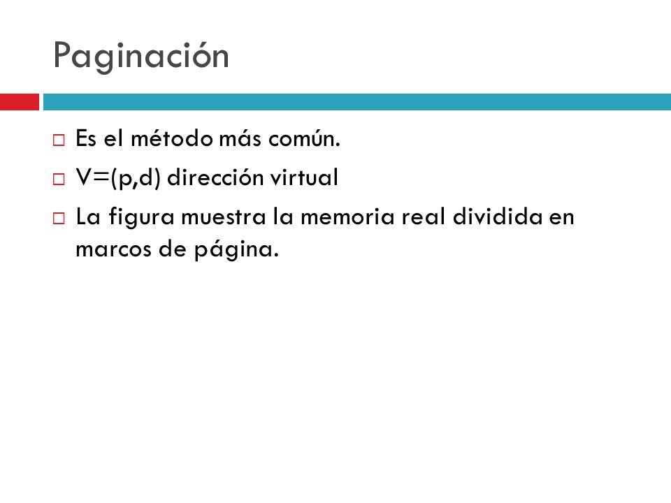 Paginación Es el método más común. V=(p,d) dirección virtual