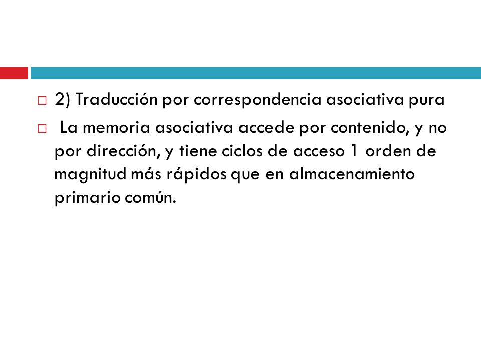 2) Traducción por correspondencia asociativa pura