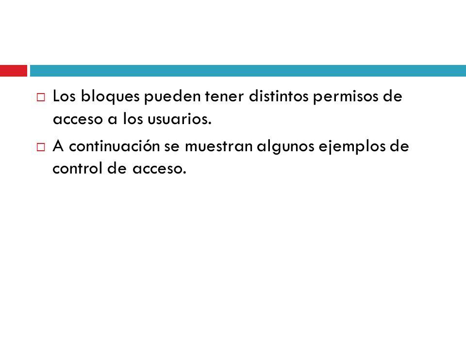 Los bloques pueden tener distintos permisos de acceso a los usuarios.