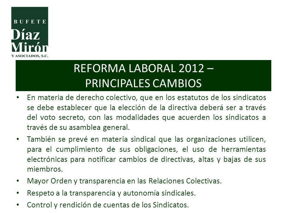 REFORMA LABORAL 2012 – PRINCIPALES CAMBIOS