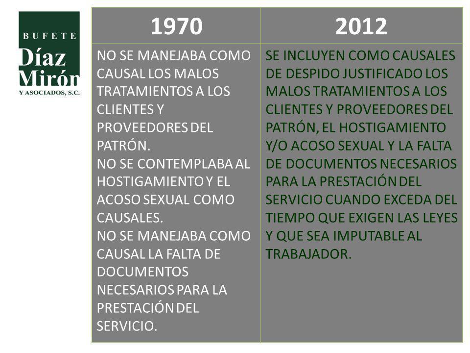 1970 2012. NO SE MANEJABA COMO CAUSAL LOS MALOS TRATAMIENTOS A LOS CLIENTES Y PROVEEDORES DEL PATRÓN.