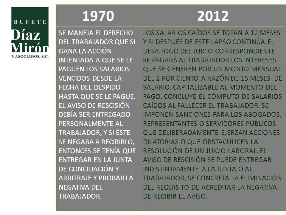 1970 2012. SE MANEJA EL DERECHO DEL TRABAJADOR QUE SI GANA LA ACCIÓN INTENTADA A QUE SE LE PAGUEN LOS SALARIOS.