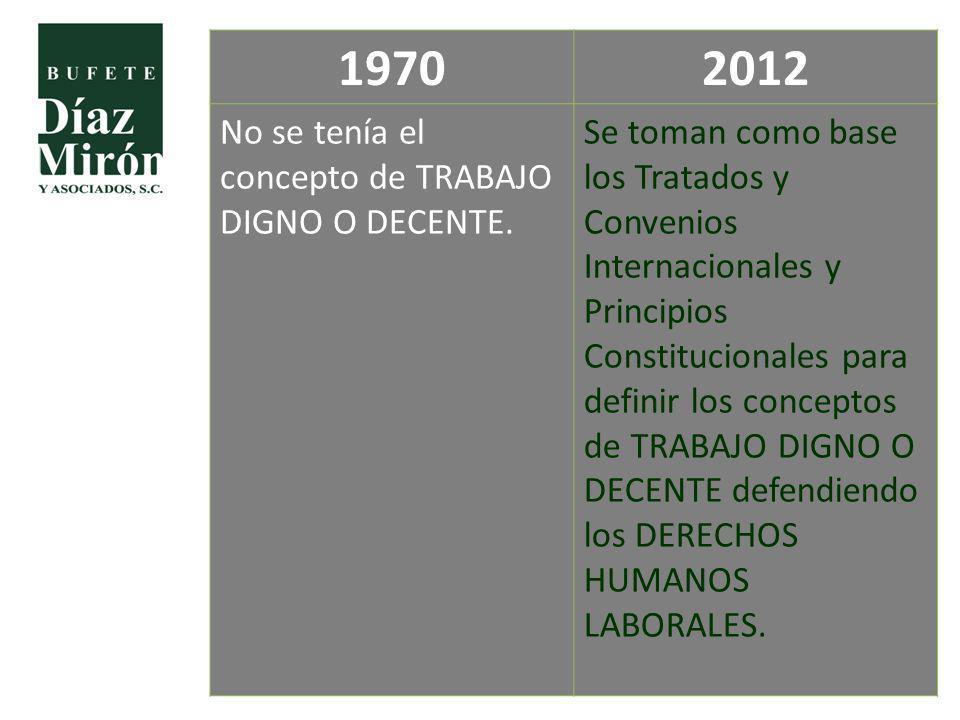 1970 2012 No se tenía el concepto de TRABAJO DIGNO O DECENTE.