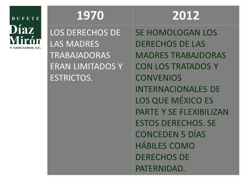 1970 2012. LOS DERECHOS DE LAS MADRES TRABAJADORAS ERAN LIMITADOS Y ESTRICTOS.