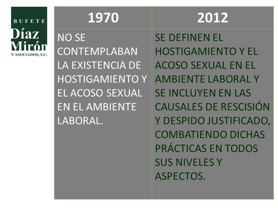 1970 2012. NO SE CONTEMPLABAN LA EXISTENCIA DE HOSTIGAMIENTO Y EL ACOSO SEXUAL EN EL AMBIENTE LABORAL.
