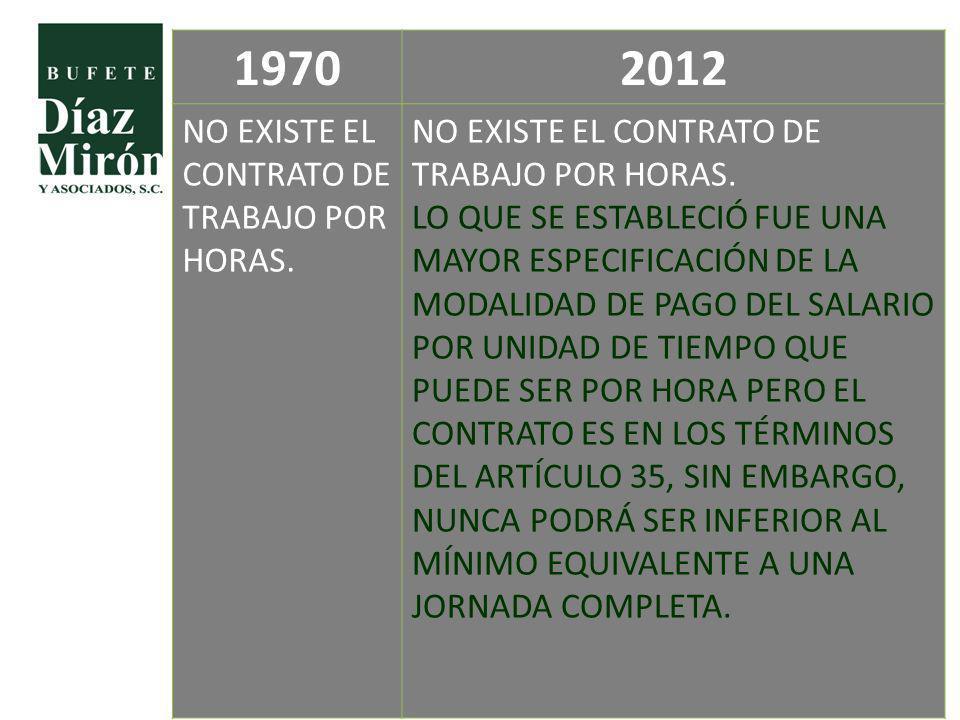 1970 2012 NO EXISTE EL CONTRATO DE TRABAJO POR HORAS.