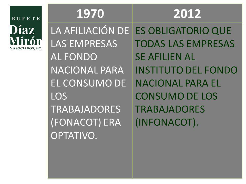 1970 2012. LA AFILIACIÓN DE LAS EMPRESAS AL FONDO NACIONAL PARA EL CONSUMO DE LOS TRABAJADORES (FONACOT) ERA OPTATIVO.