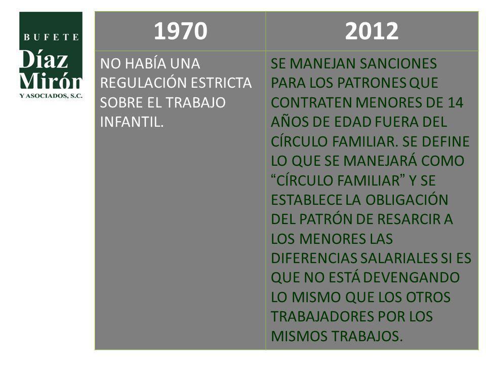 1970 2012 NO HABÍA UNA REGULACIÓN ESTRICTA SOBRE EL TRABAJO INFANTIL.
