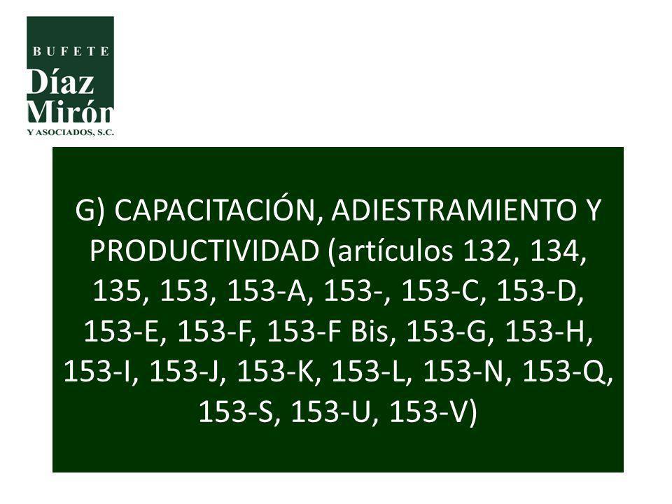G) CAPACITACIÓN, ADIESTRAMIENTO Y PRODUCTIVIDAD (artículos 132, 134, 135, 153, 153-A, 153-, 153-C, 153-D, 153-E, 153-F, 153-F Bis, 153-G, 153-H, 153-I, 153-J, 153-K, 153-L, 153-N, 153-Q, 153-S, 153-U, 153-V)