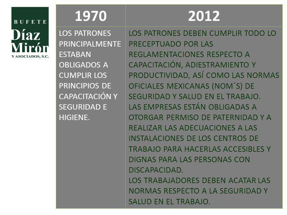 1970 2012. LOS PATRONES PRINCIPALMENTE ESTABAN OBLIGADOS A CUMPLIR LOS PRINCIPIOS DE CAPACITACIÓN Y SEGURIDAD E HIGIENE.