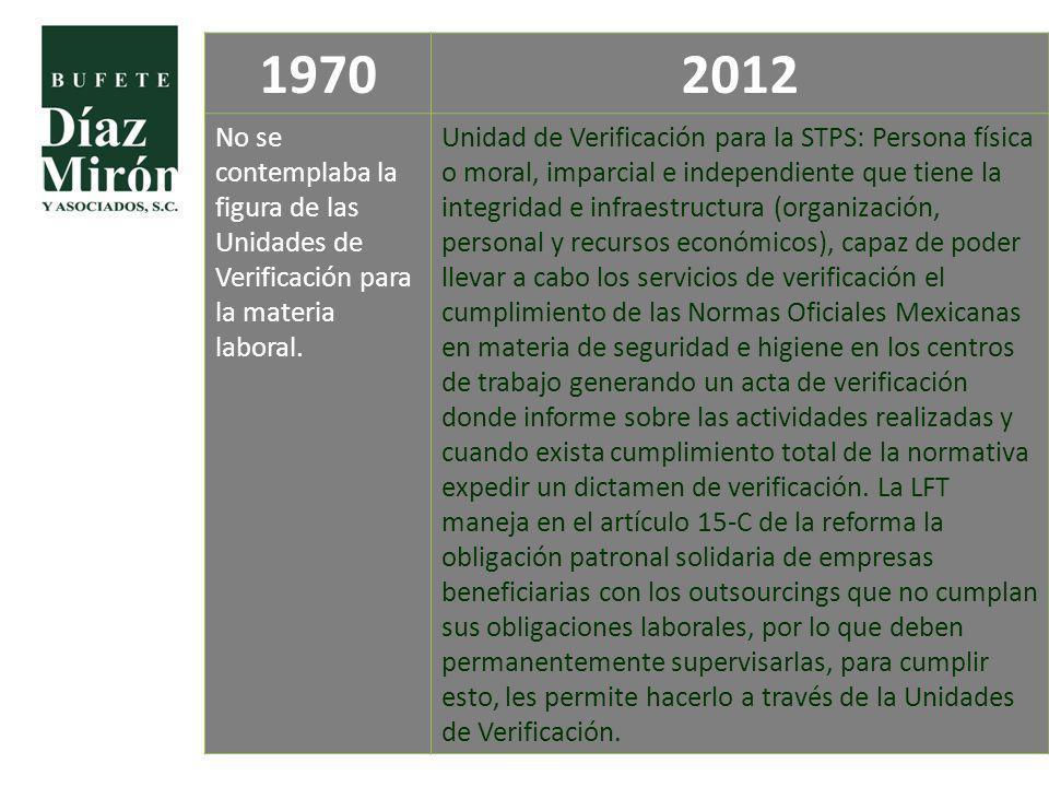1970 2012. No se contemplaba la figura de las Unidades de Verificación para la materia laboral.