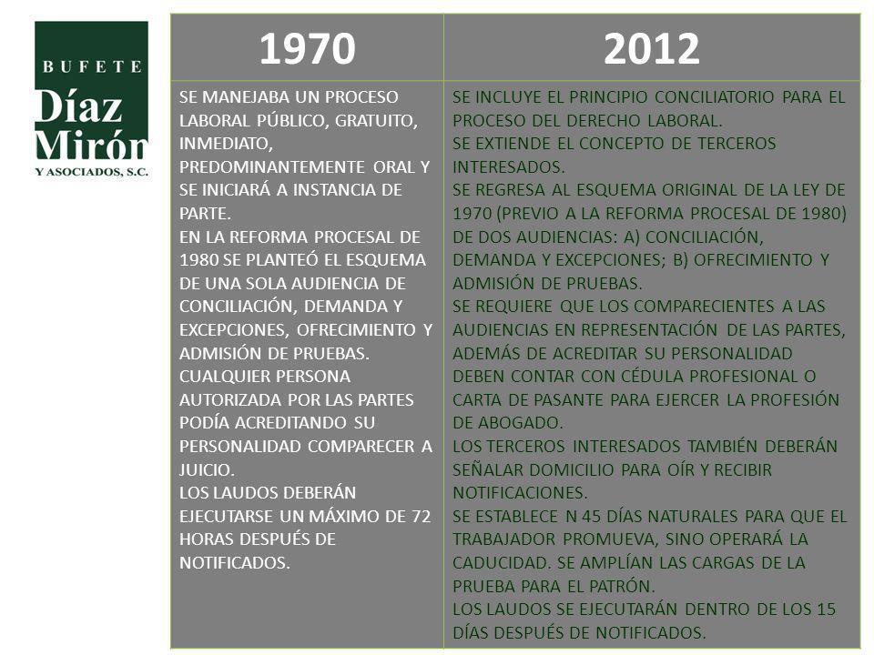 1970 2012. SE MANEJABA UN PROCESO LABORAL PÚBLICO, GRATUITO, INMEDIATO, PREDOMINANTEMENTE ORAL Y SE INICIARÁ A INSTANCIA DE PARTE.