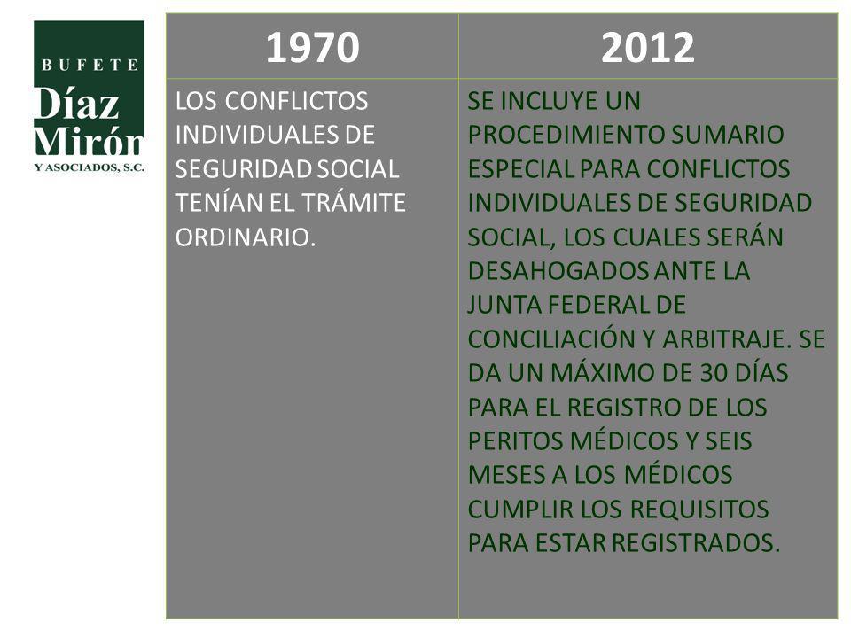 1970 2012. LOS CONFLICTOS INDIVIDUALES DE SEGURIDAD SOCIAL TENÍAN EL TRÁMITE ORDINARIO.