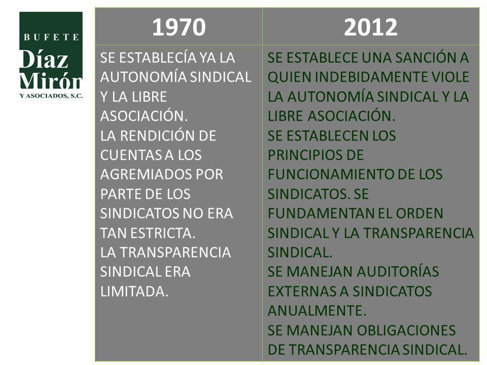 1970 2012. SE ESTABLECÍA YA LA AUTONOMÍA SINDICAL Y LA LIBRE ASOCIACIÓN.
