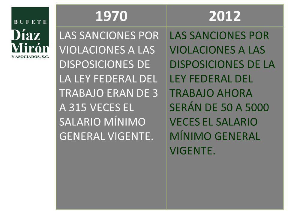 1970 2012. LAS SANCIONES POR VIOLACIONES A LAS DISPOSICIONES DE LA LEY FEDERAL DEL TRABAJO ERAN DE 3 A 315 VECES EL SALARIO MÍNIMO GENERAL VIGENTE.