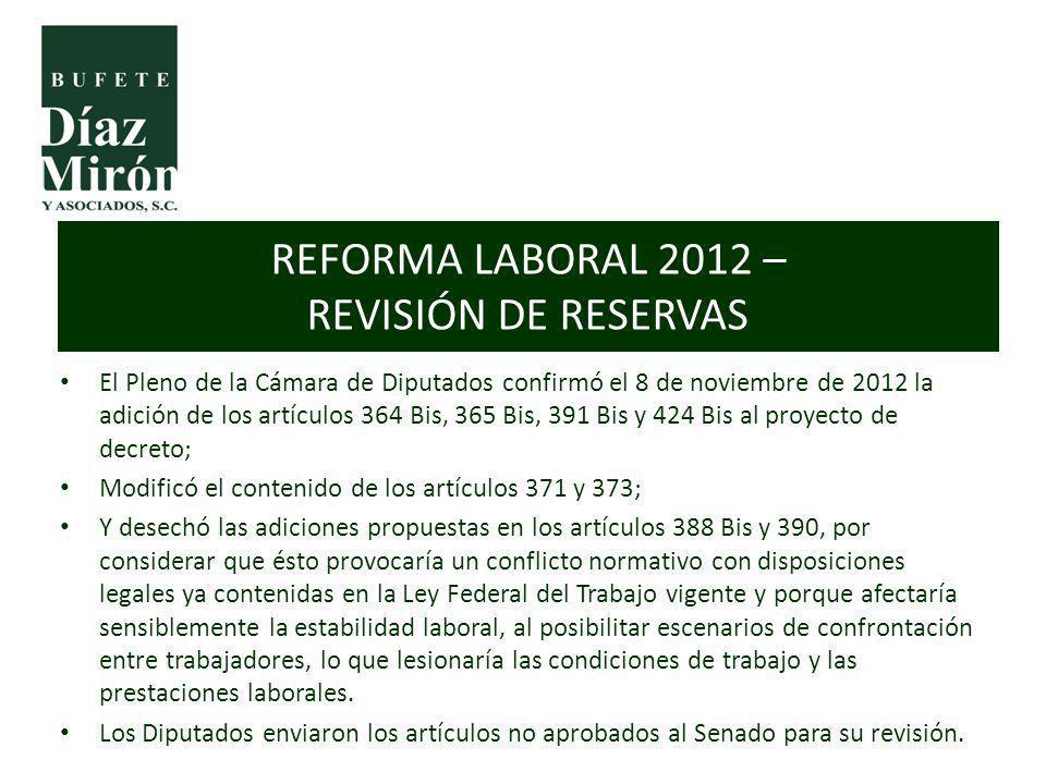REFORMA LABORAL 2012 – REVISIÓN DE RESERVAS