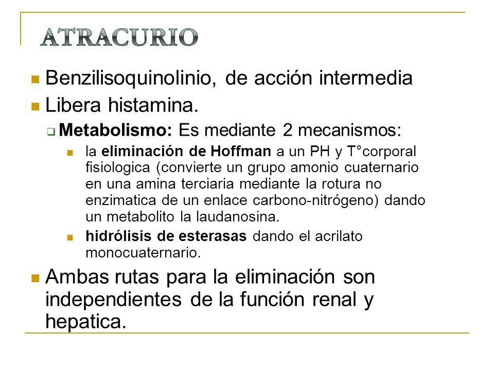 ATRACURIO Benzilisoquinolinio, de acción intermedia Libera histamina.