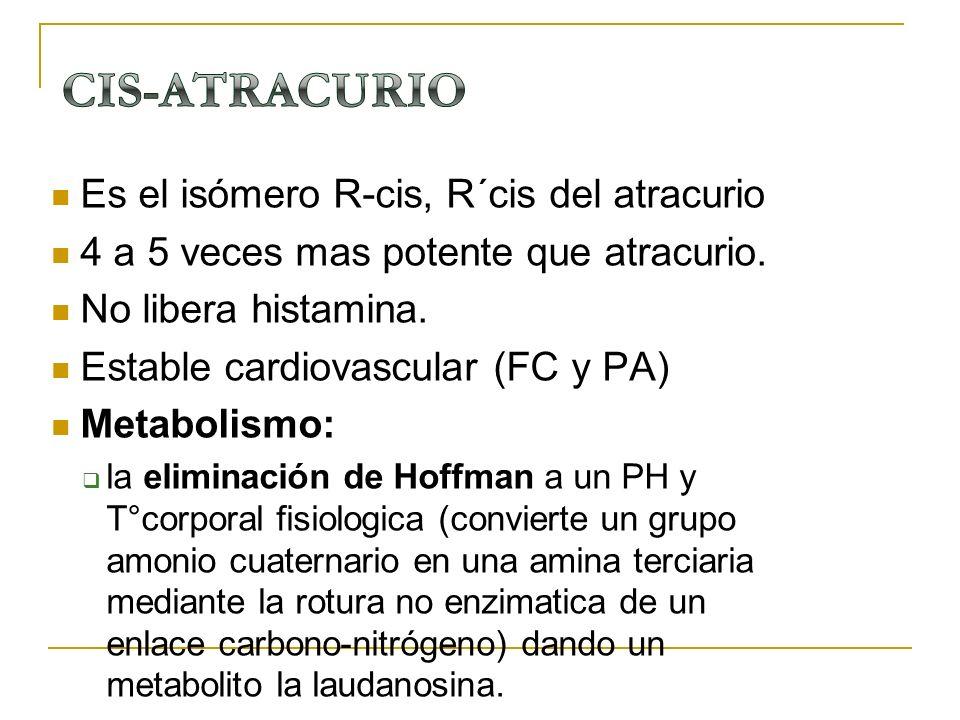 CIS-ATRACURIO Es el isómero R-cis, R´cis del atracurio