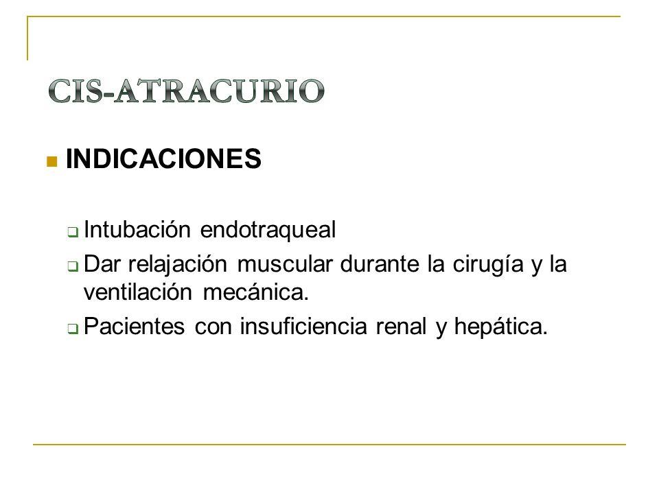 CIS-ATRACURIO INDICACIONES Intubación endotraqueal