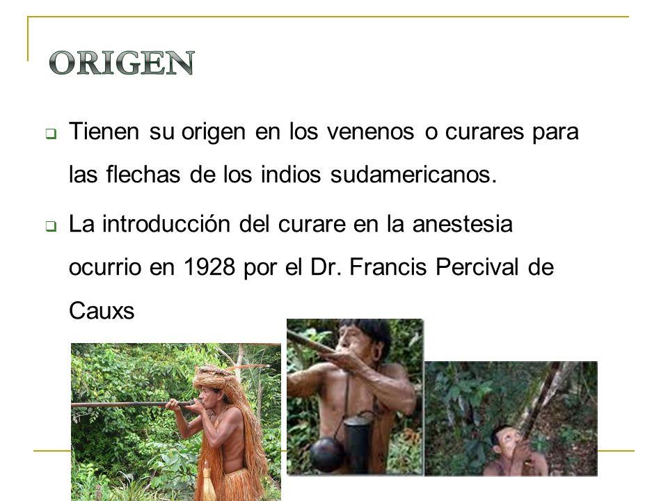 ORIGEN Tienen su origen en los venenos o curares para las flechas de los indios sudamericanos.