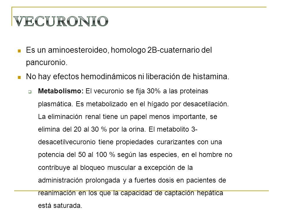 VECURONIO Es un aminoesteroideo, homologo 2B-cuaternario del pancuronio. No hay efectos hemodinámicos ni liberación de histamina.