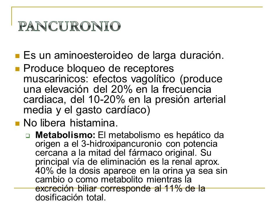 PANCURONIO Es un aminoesteroideo de larga duración.