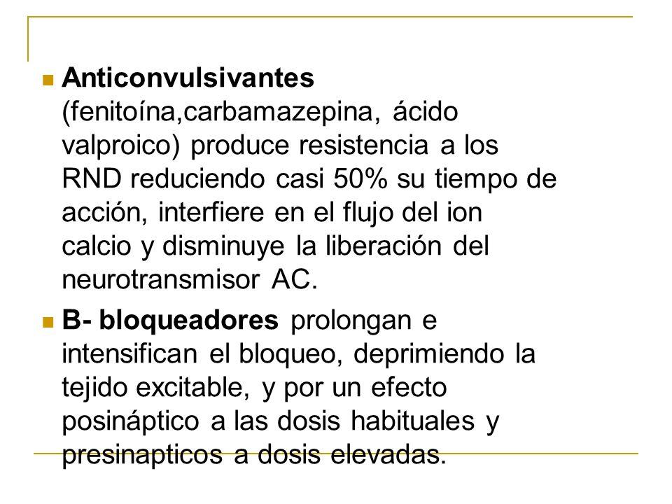 Anticonvulsivantes (fenitoína,carbamazepina, ácido valproico) produce resistencia a los RND reduciendo casi 50% su tiempo de acción, interfiere en el flujo del ion calcio y disminuye la liberación del neurotransmisor AC.