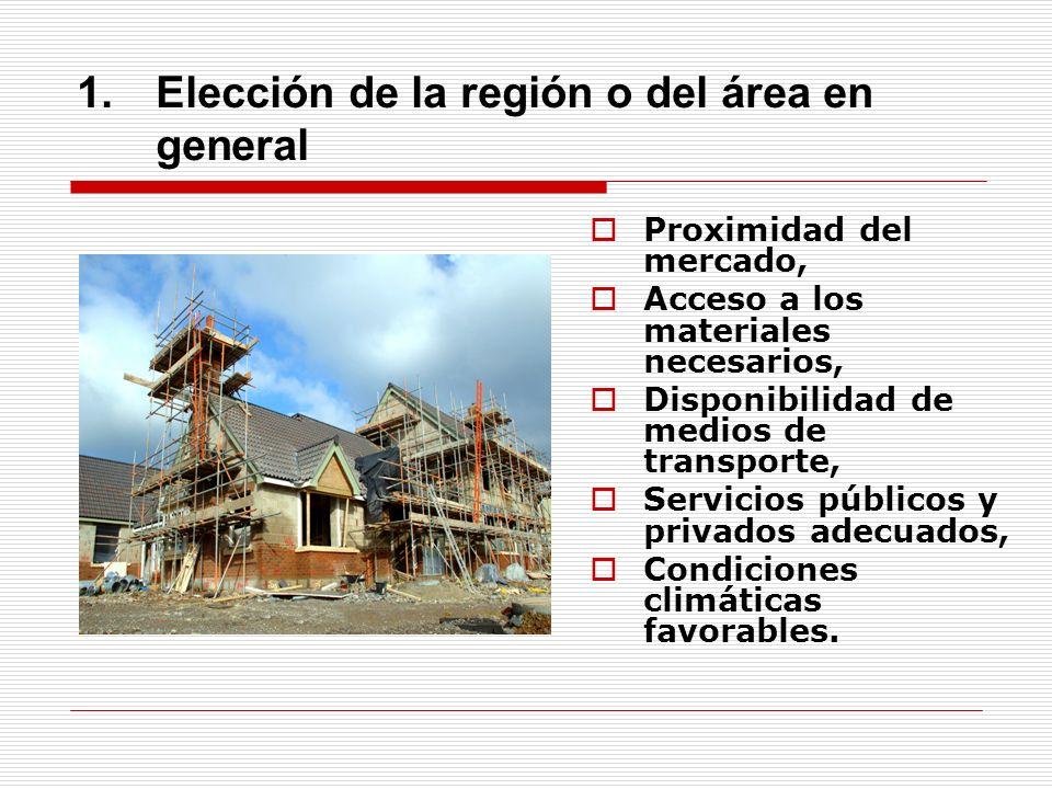Elección de la región o del área en general