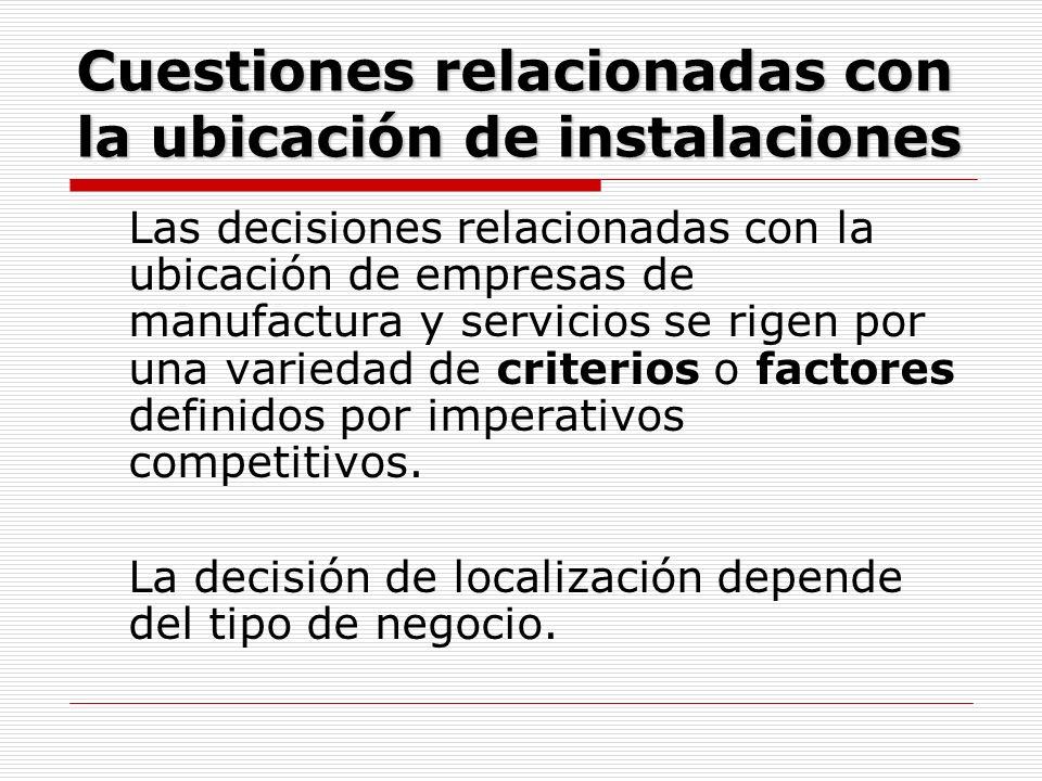 Cuestiones relacionadas con la ubicación de instalaciones