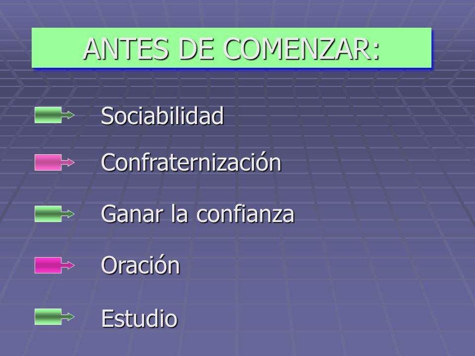 ANTES DE COMENZAR: Sociabilidad Confraternización Ganar la confianza