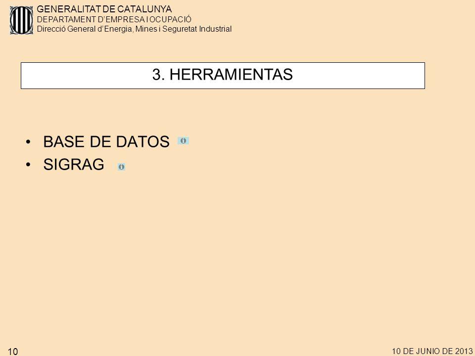 3. HERRAMIENTAS BASE DE DATOS SIGRAG 10 DE JUNIO DE 2013