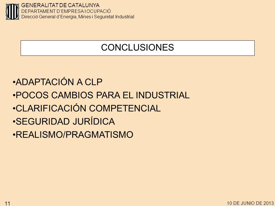 POCOS CAMBIOS PARA EL INDUSTRIAL CLARIFICACIÓN COMPETENCIAL