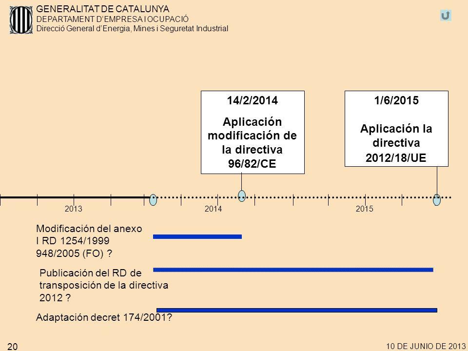 Aplicación modificación de la directiva 96/82/CE 1/6/2015