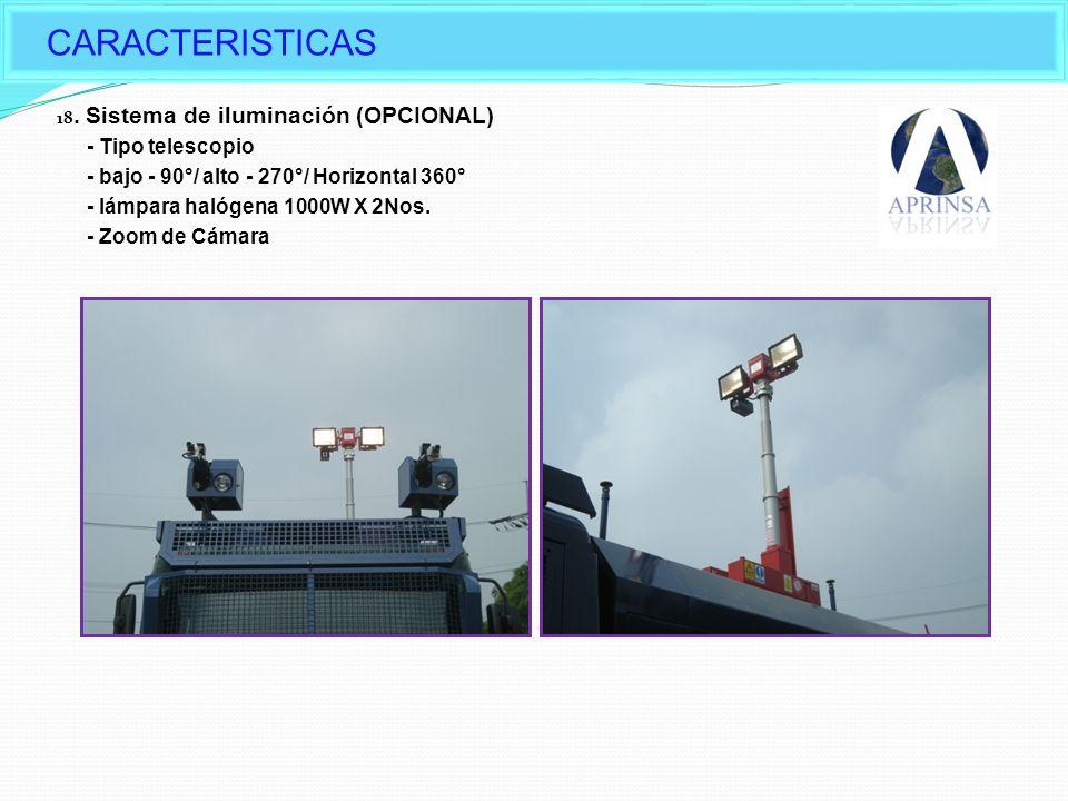 CARACTERISTICAS Options of Daeji's Water cannon - Tipo telescopio