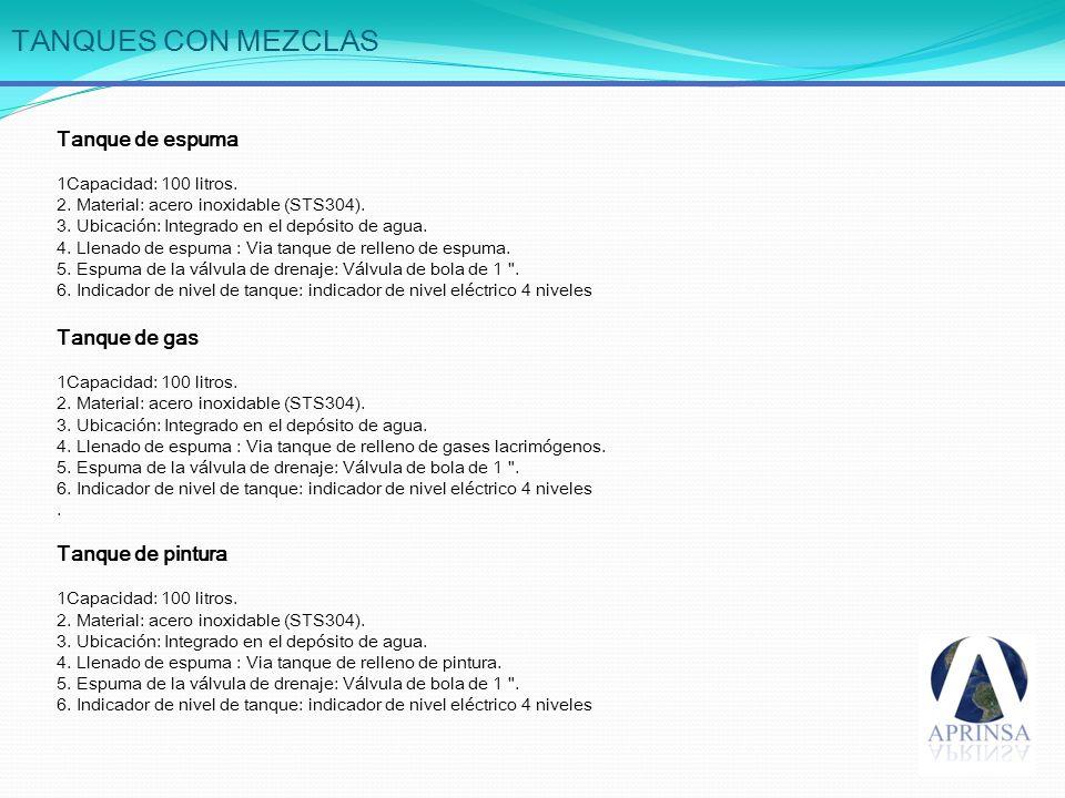 TANQUES CON MEZCLAS Tanque de espuma Tanque de gas Tanque de pintura