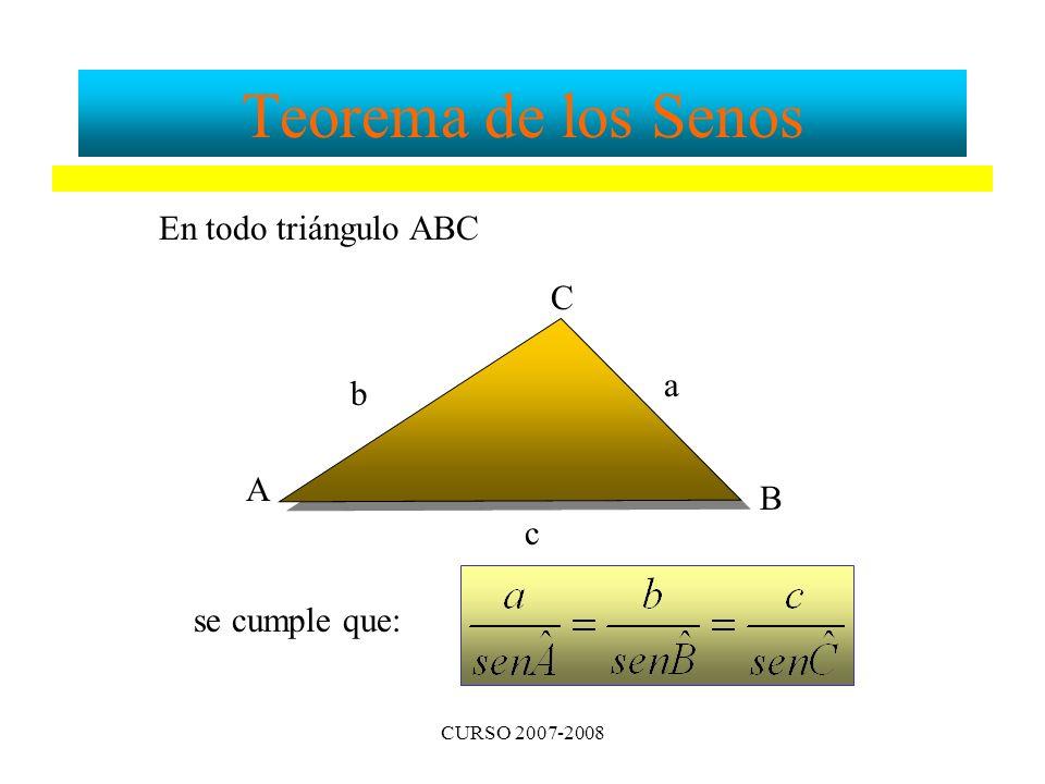 Teorema de los Senos En todo triángulo ABC C a b A B c se cumple que: