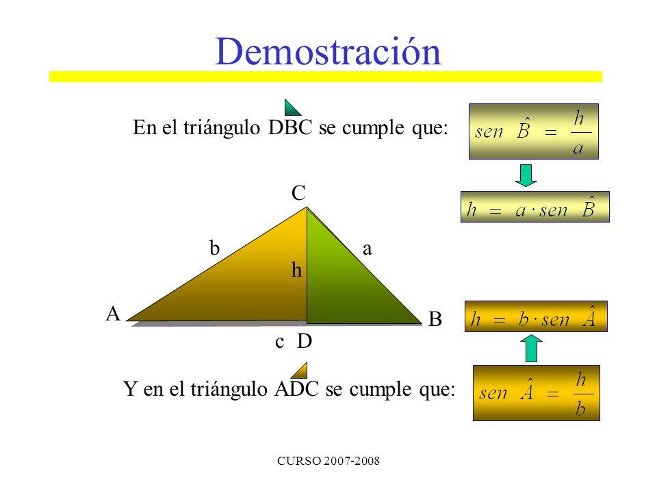Demostración En el triángulo DBC se cumple que: A B C b a c D h