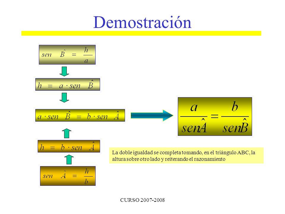 Demostración La doble igualdad se completa tomando, en el triángulo ABC, la altura sobre otro lado y reiterando el razonamiento.