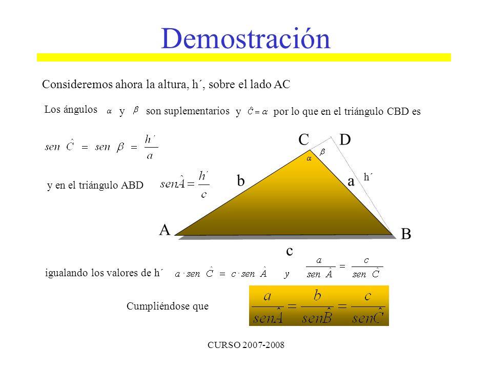 Demostración Consideremos ahora la altura, h´, sobre el lado AC. Los ángulos. y. son suplementarios.