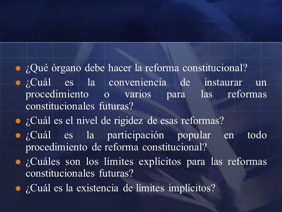 ¿Qué órgano debe hacer la reforma constitucional