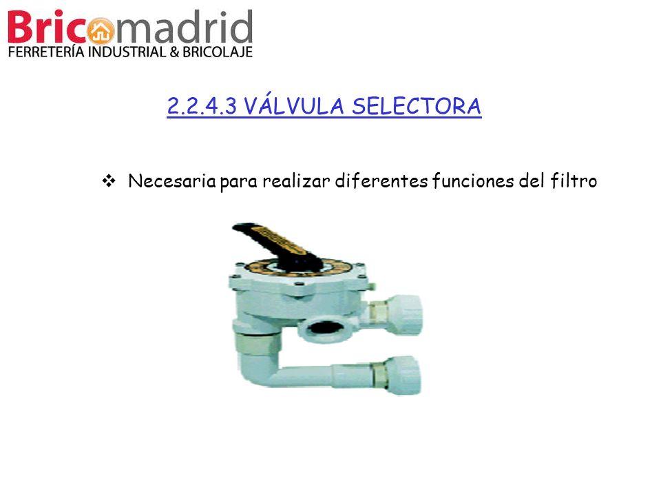 2.2.4.3 VÁLVULA SELECTORA Necesaria para realizar diferentes funciones del filtro 25