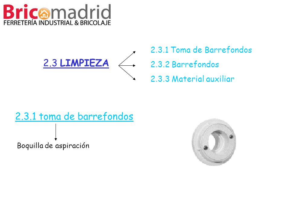2.3 LIMPIEZA 2.3.1 toma de barrefondos 2.3.1 Toma de Barrefondos
