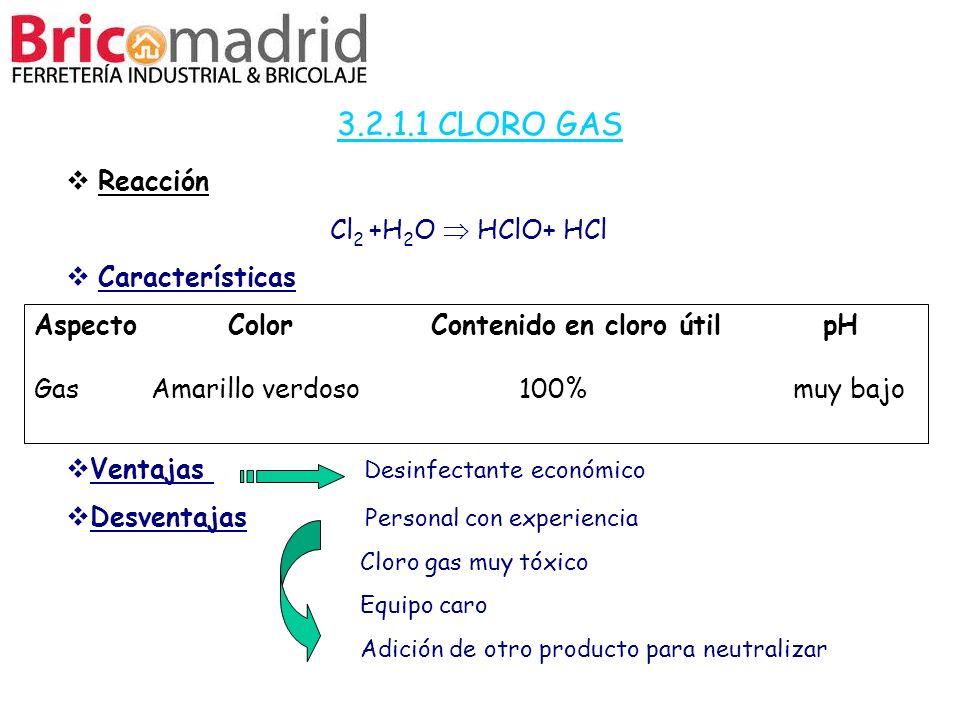 3.2.1.1 CLORO GAS Reacción Cl2 +H2O  HClO+ HCl Características